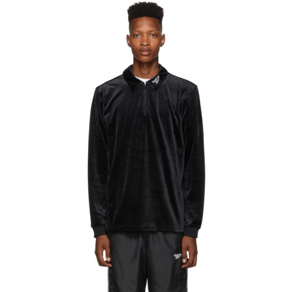 リーボック Reebok Classics メンズ トップス ポロシャツ【Black Velour CL V Zip Polo】Black