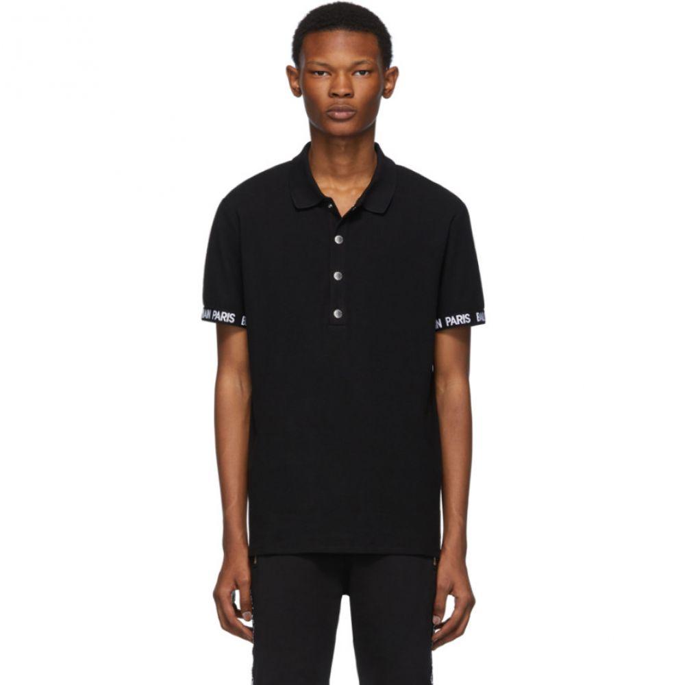 バルマン Balmain メンズ トップス ポロシャツ【Black Logo Trim Polo】Black