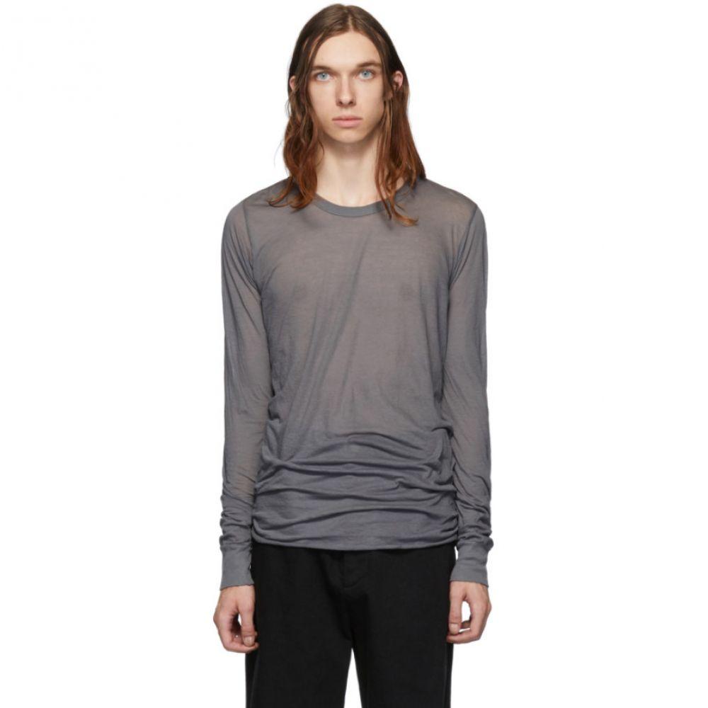 リック オウエンス Rick Owens メンズ トップス 長袖Tシャツ【Grey Basic Long Sleeve T-Shirt】Blu