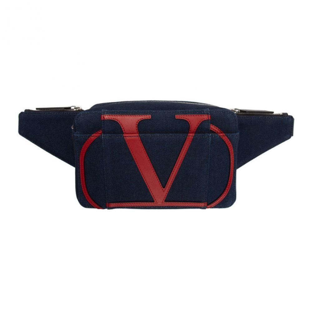 ヴァレンティノ Valentino メンズ バッグ ボディバッグ・ウエストポーチ【Blue Garavani Denim VLogo Belt Bag】Dark blue