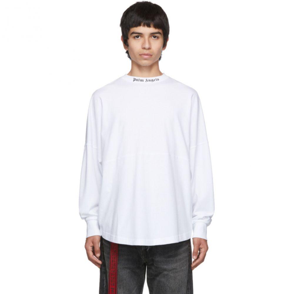 パーム エンジェルス Palm Angels メンズ トップス 長袖Tシャツ【White Logo Long Sleeve T-Shirt】White/Black