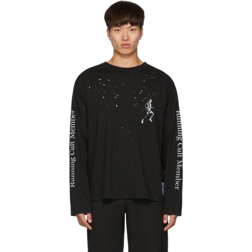 サティスフィ Satisfy メンズ トップス 長袖Tシャツ【Black Cult Moth Eaten Long Sleeve T-Shirt】Black