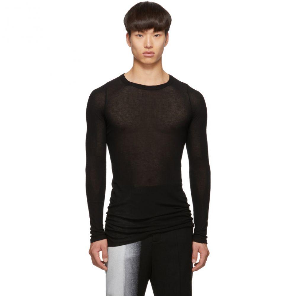 リック オウエンス Rick Owens メンズ トップス 長袖Tシャツ【Black Rib Long Sleeve T-Shirt】Black