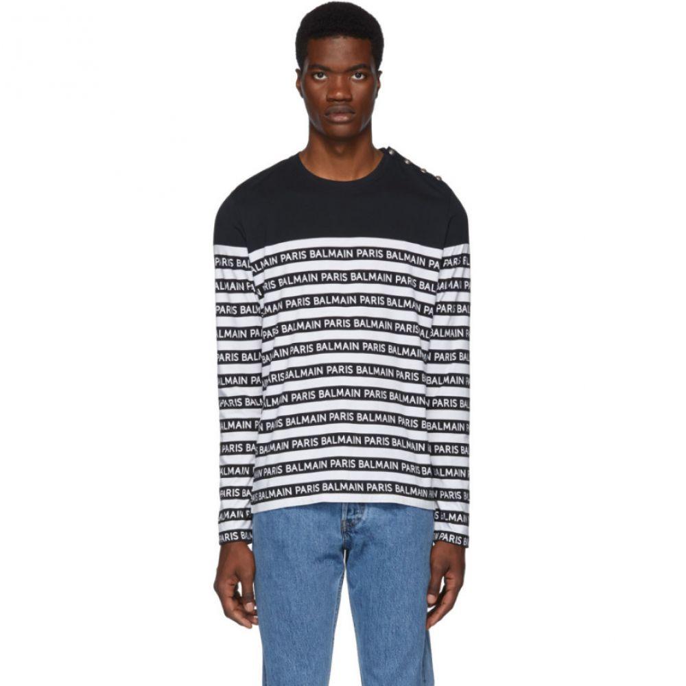 バルマン Balmain メンズ トップス 長袖Tシャツ【Black & White Logo Stripe Long Sleeve T-Shirt】Black/White