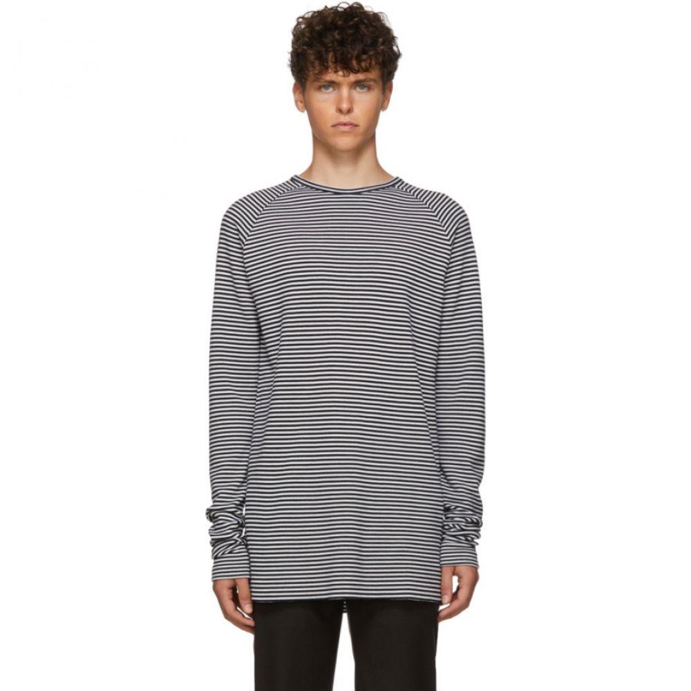 ハイダー アッカーマン Haider Ackermann メンズ トップス 長袖Tシャツ【Black & White Striped Fortuna Long Sleeve T-Shirt】Black/White
