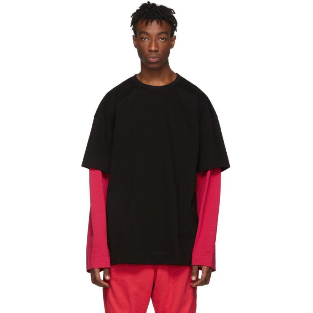ジュン.J Juun.J メンズ トップス 長袖Tシャツ【SSENSE Exclusive Black & Red Layered Long Sleeve T-Shirt】Black/Red