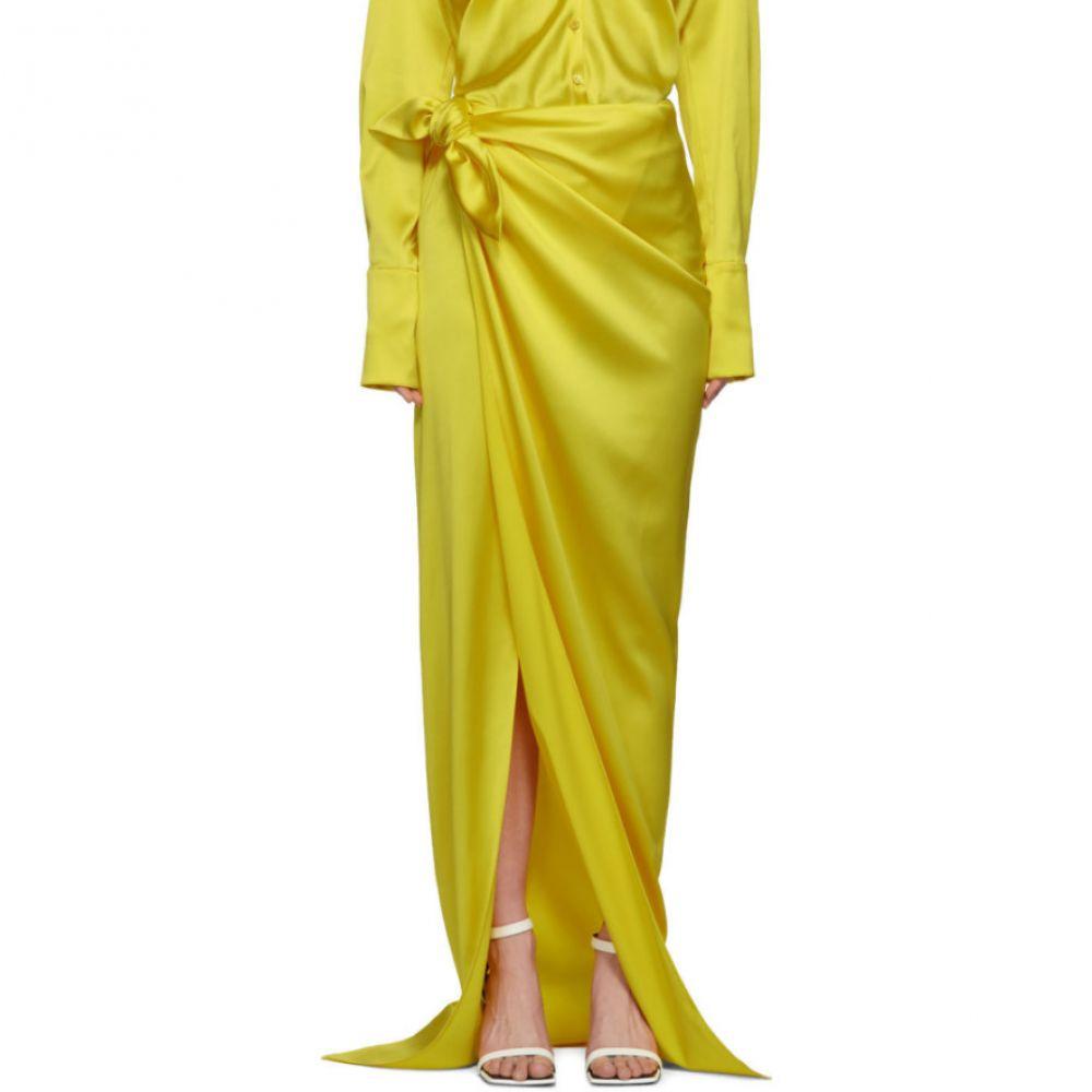 バレンシアガ Balenciaga レディース スカート【Yellow Satin Wrap Skirt】