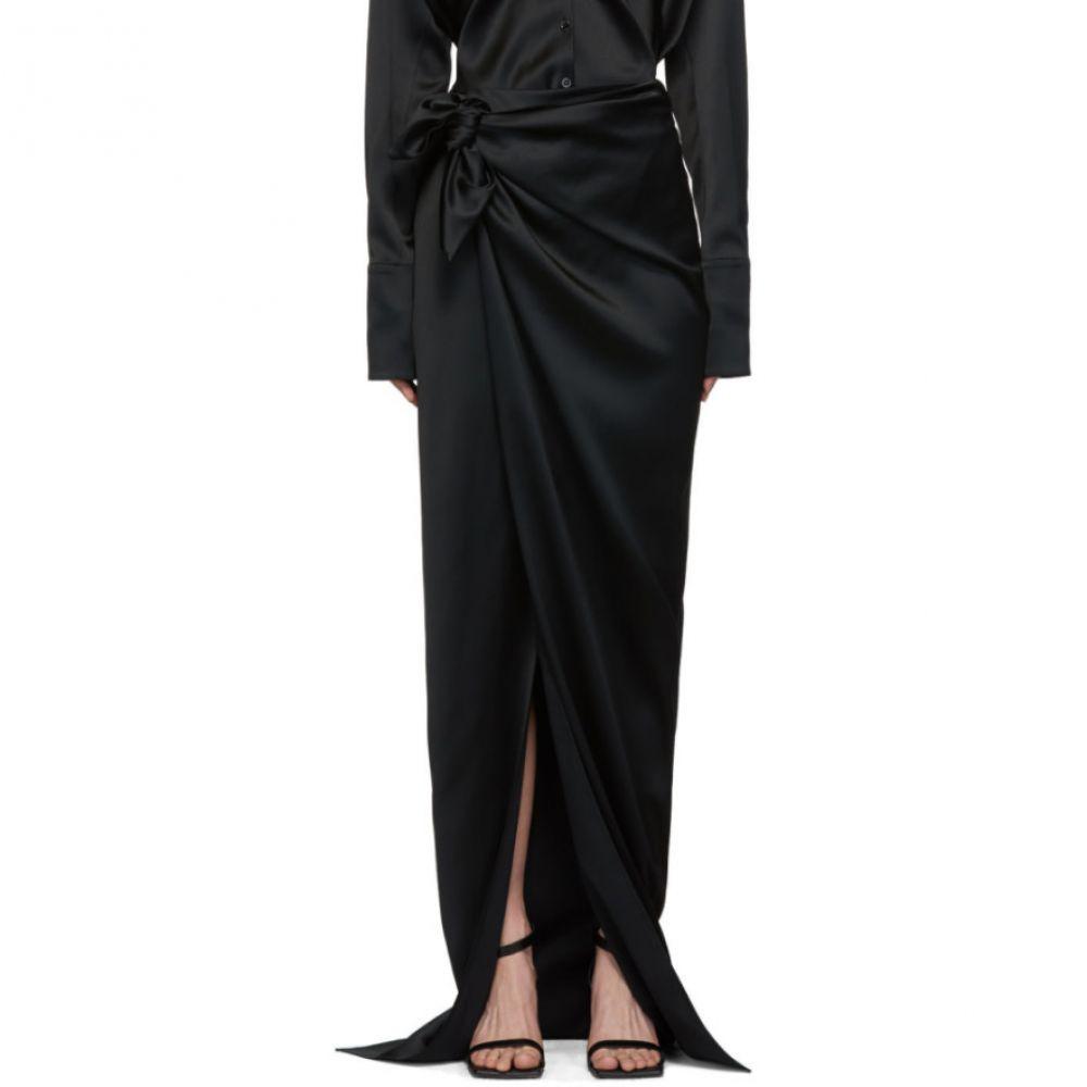 バレンシアガ Balenciaga レディース スカート【Black Satin Wrap Skirt】