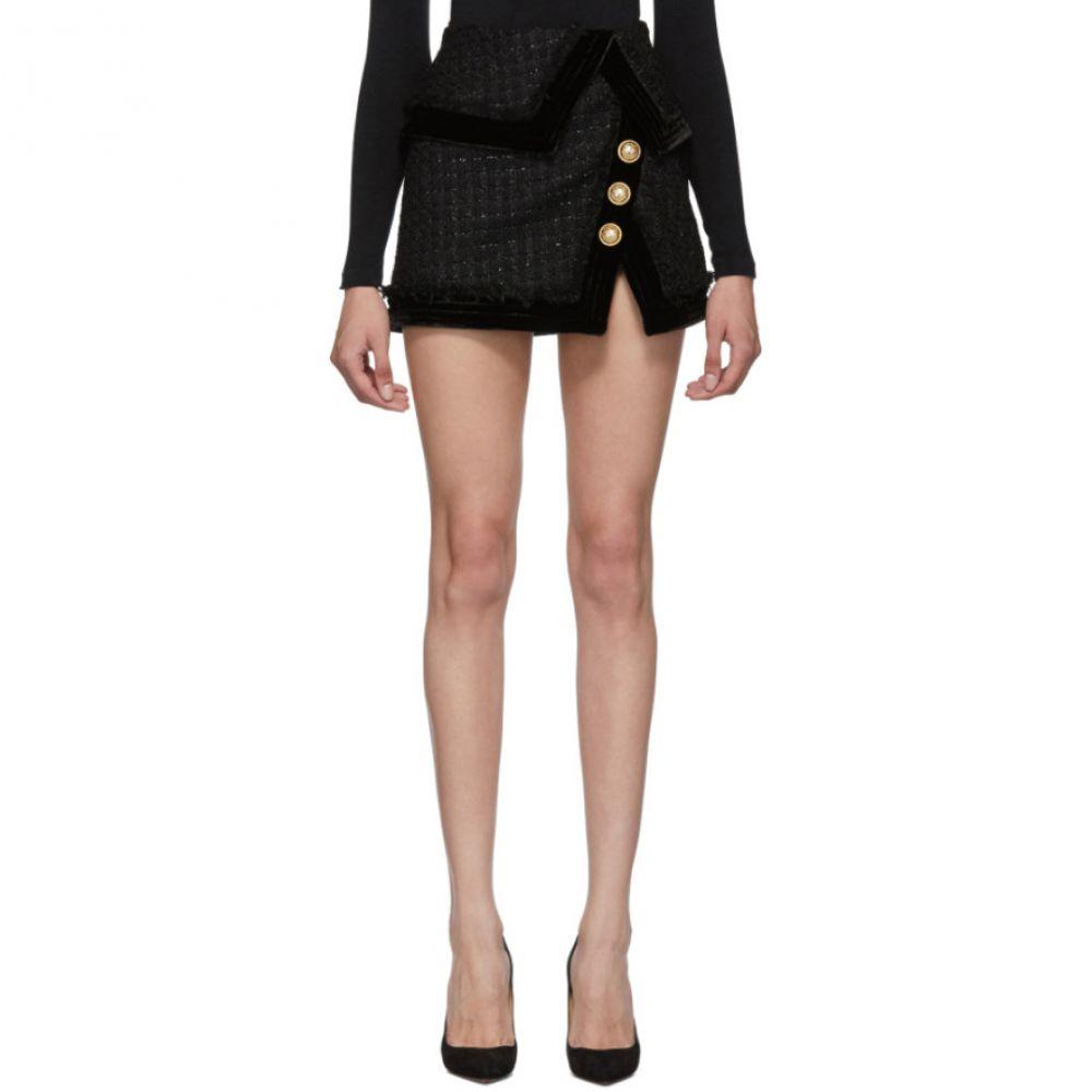 バルマン Balmain レディース スカート ミニスカート【Black Tweed Fringed Wraparound Miniskirt】Black