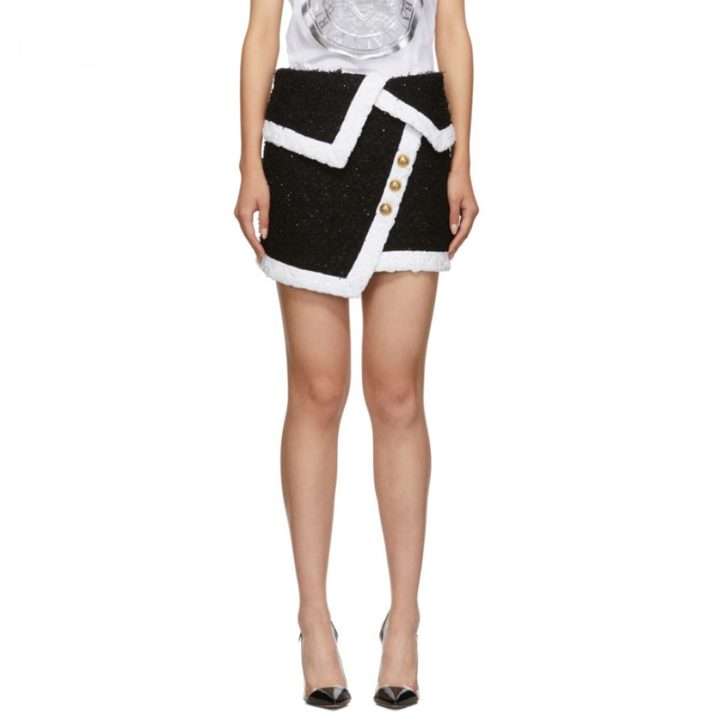 バルマン Balmain レディース スカート ミニスカート【Black & White Tweed Wrap Miniskirt】Black/White