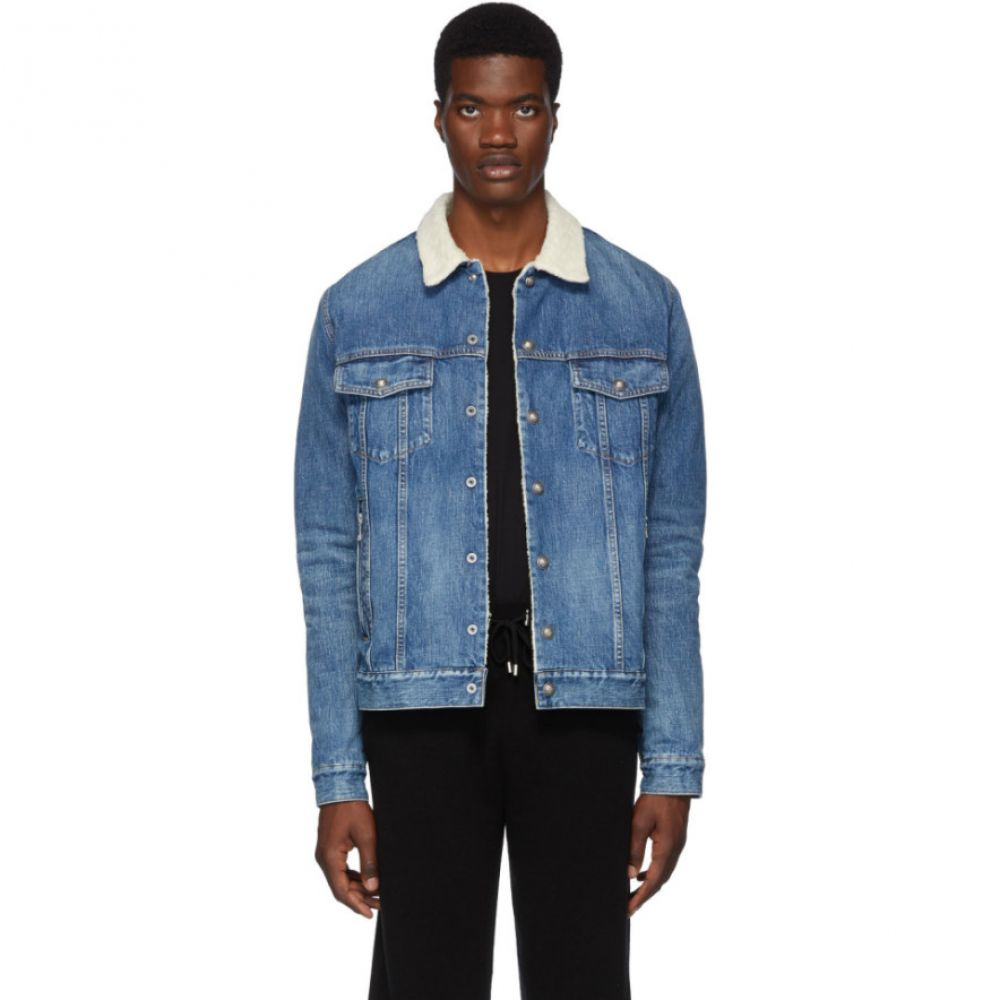 バルマン Balmain メンズ アウター ジャケット【Blue Denim Shearling Jacket】Blue
