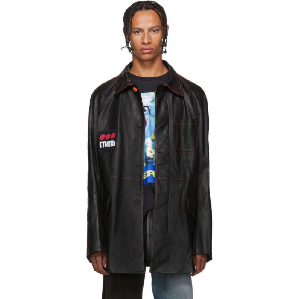 ヘロン プレストン Heron Preston メンズ アウター レザージャケット【Black Leather 'Style' Dots Jacket】Black