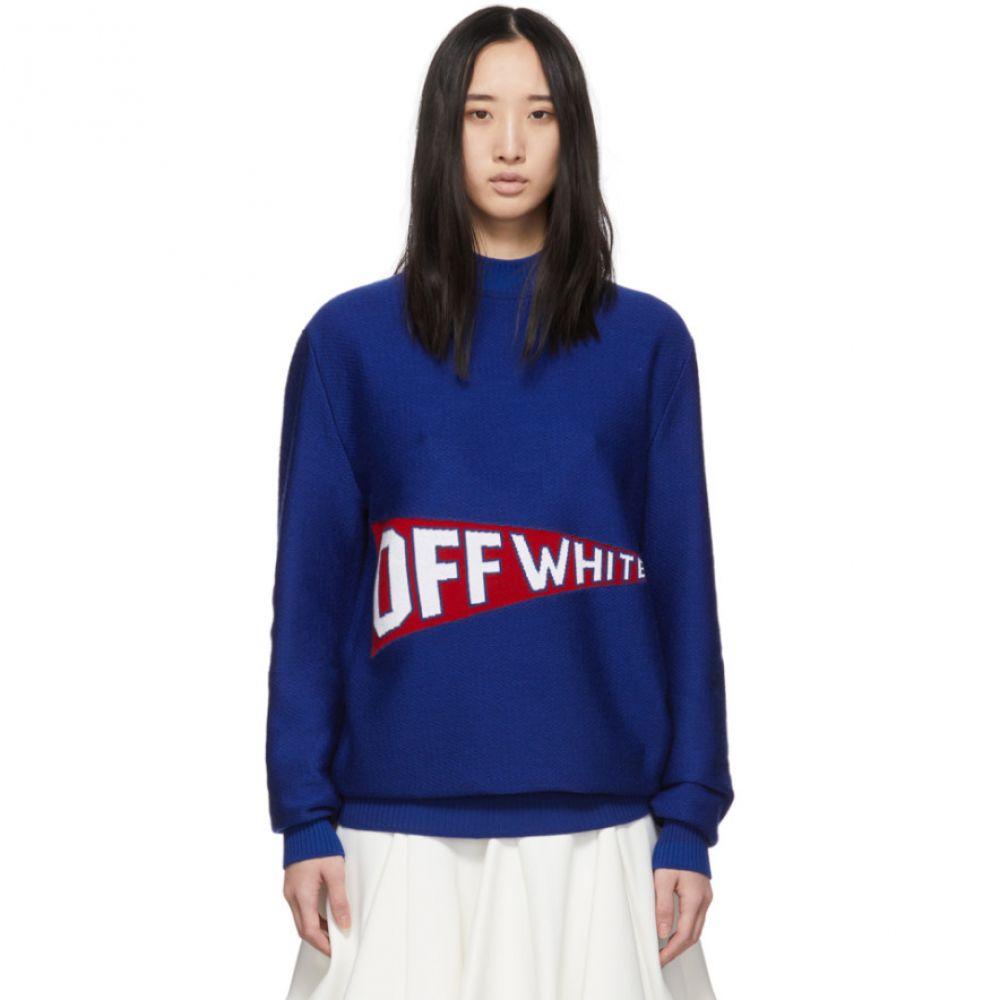 オフ-ホワイト Off-White レディース ニット・セーター トップス【blue & red logo flag crewneck sweater】
