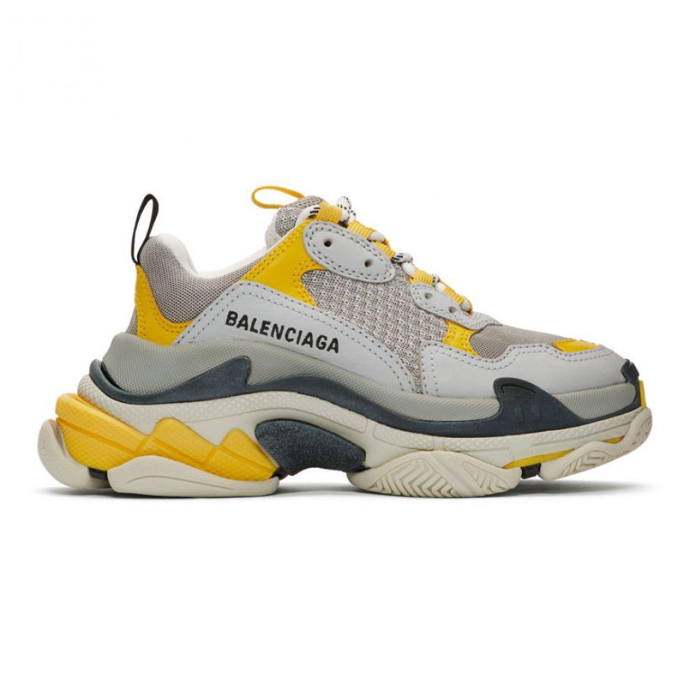 バレンシアガ Balenciaga レディース スニーカー シューズ・靴【grey & yellow triple s sneakers】