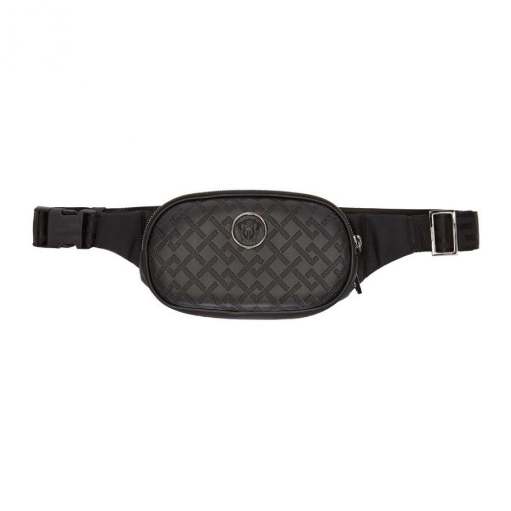 ヴェルサーチ Versace メンズ ボディバッグ・ウエストポーチ バッグ【black greek key-embossed belt bag】