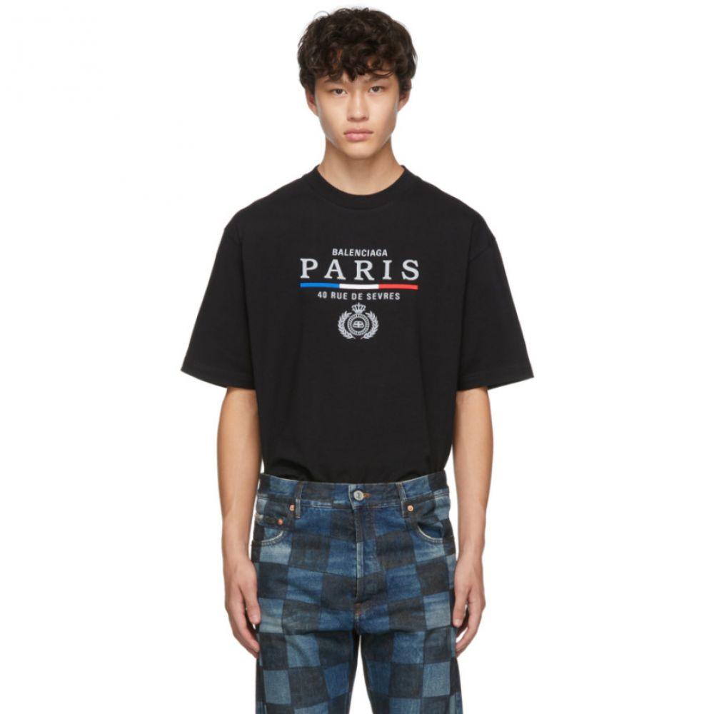バレンシアガ Balenciaga メンズ Tシャツ トップス【black paris flag regular fit t-shirt】