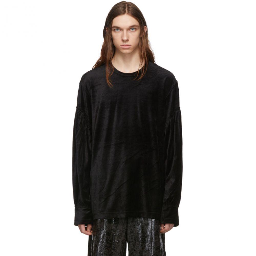 コム デ ギャルソン Comme des Garcons Homme Plus メンズ 長袖Tシャツ トップス【black velour long sleeve t-shirt】