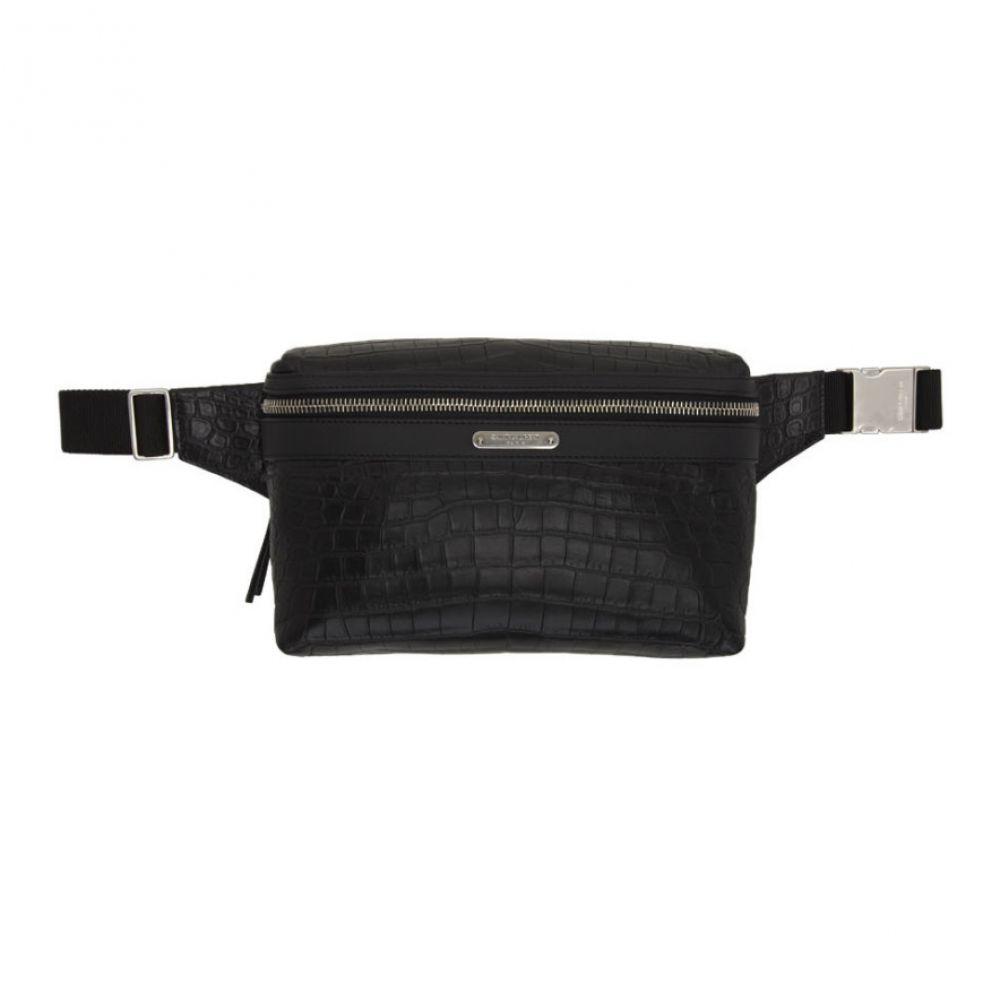 イヴ サンローラン Saint Laurent メンズ ボディバッグ・ウエストポーチ バッグ【black croc webbing belt marsupio pouch】
