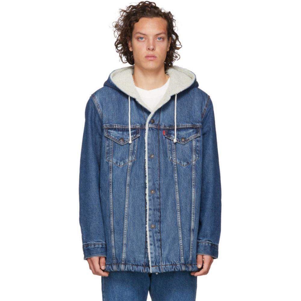リーバイス Levi's メンズ ジャケット Gジャン アウター【blue denim sherpa hooded long trucker jacket】