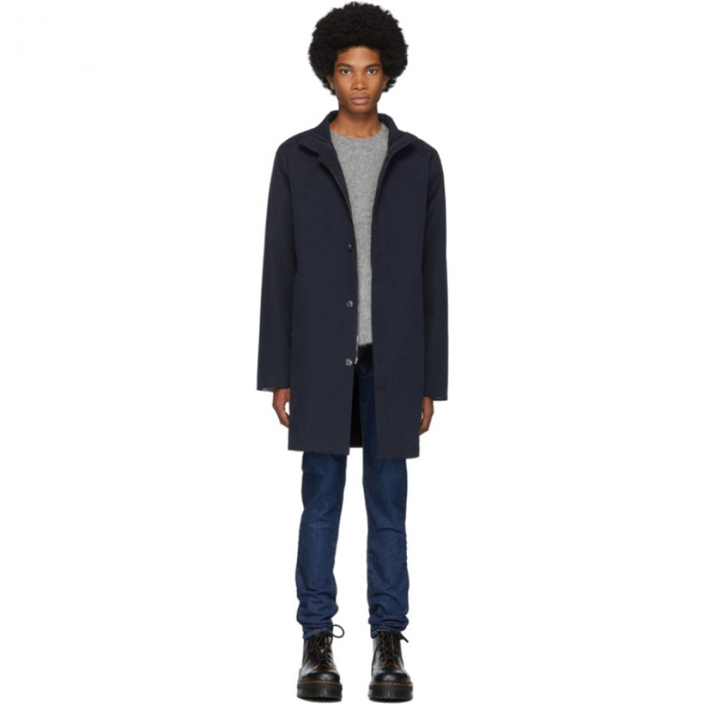 49Winters メンズ コート アウター【navy one layer mac coat】
