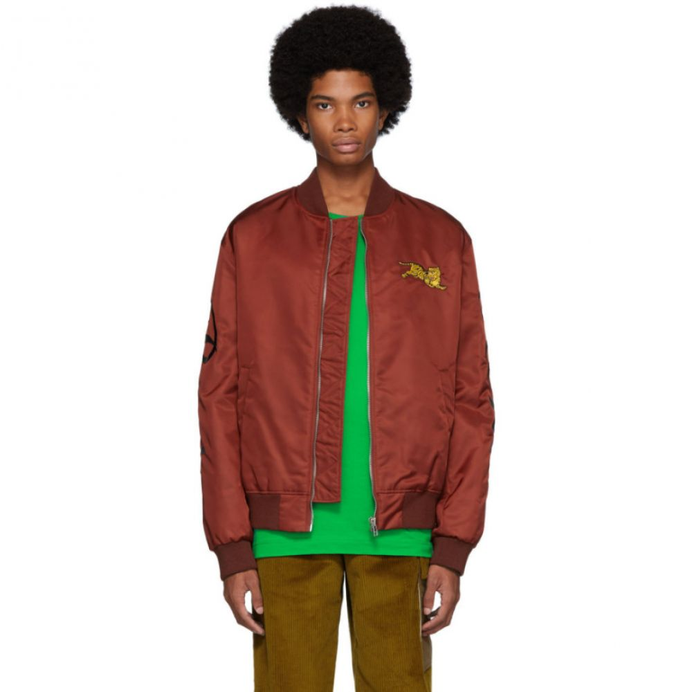 ケンゾー Kenzo メンズ ブルゾン ミリタリージャケット アウター【burgundy jumping tiger bomber jacket】
