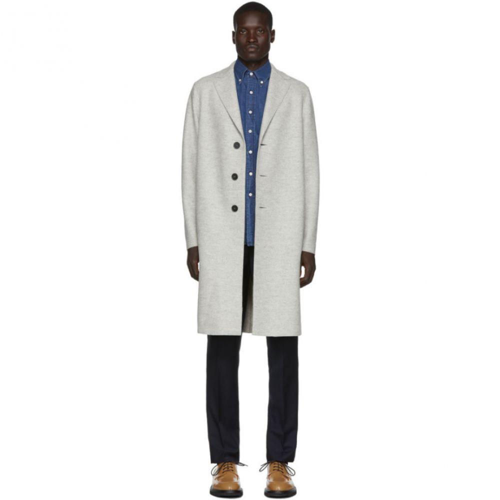 ハリスワーフロンドン Harris Wharf London メンズ コート アウター【grey wool pressed mouline coat】