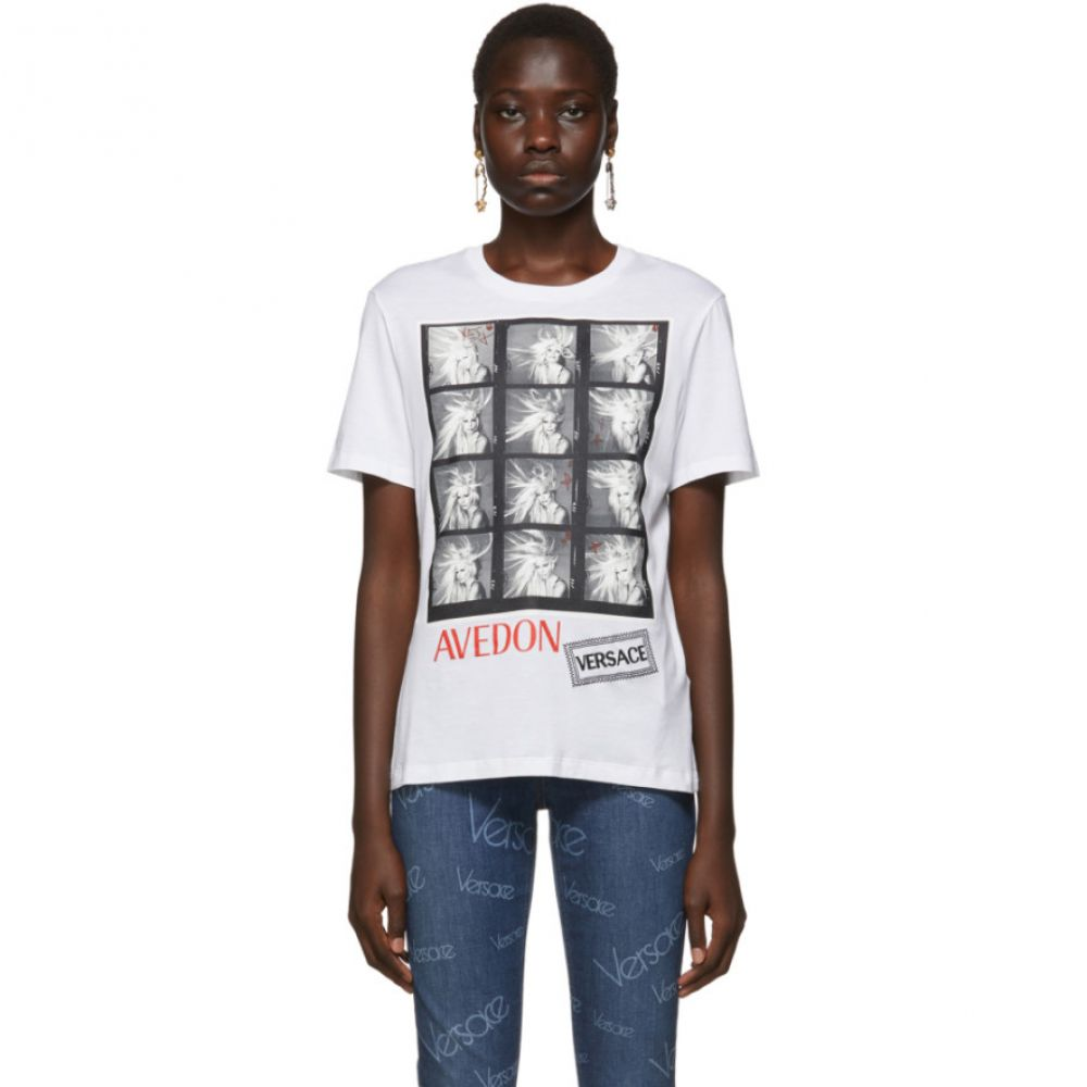 ヴェルサーチ Versace レディース Tシャツ トップス【White Richard Avedon Edition Polaroid T-Shirt】