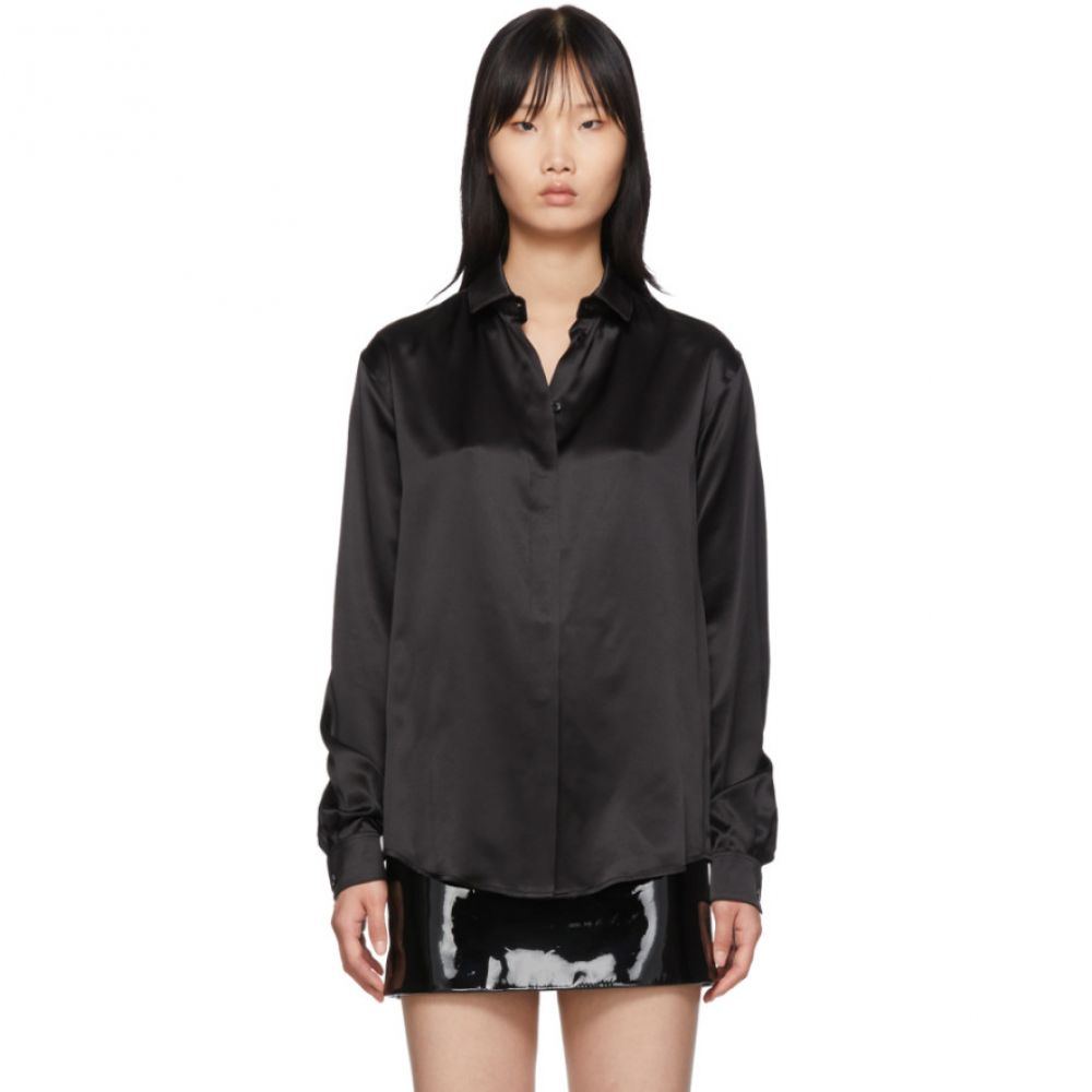 イヴ サンローラン Saint Laurent レディース ブラウス・シャツ トップス【Black Silk Satin Shirt】