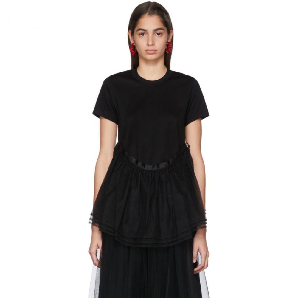 ノワール ケイ ニノミヤ Noir Kei Ninomiya レディース Tシャツ トップス【Black Tulle Detail T-Shirt】