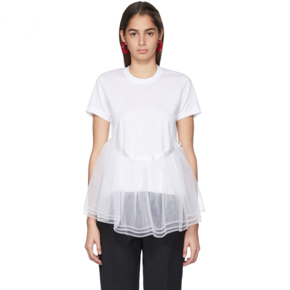 ノワール ケイ ニノミヤ Noir Kei Ninomiya レディース Tシャツ トップス【White Tulle Detail T-Shirt】