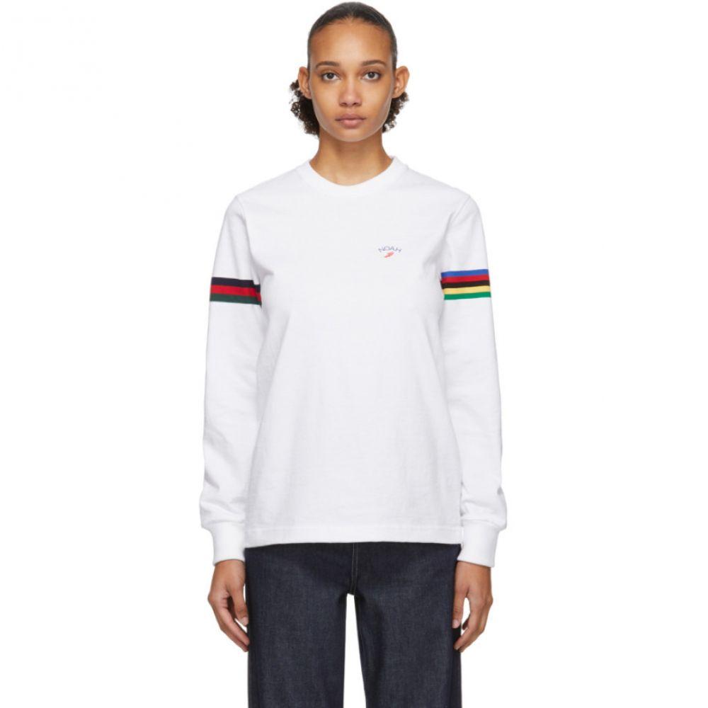 ノア Noah NYC レディース 長袖Tシャツ トップス【White Stripe Winged Foot Rugby Long Sleeve T-Shirt】