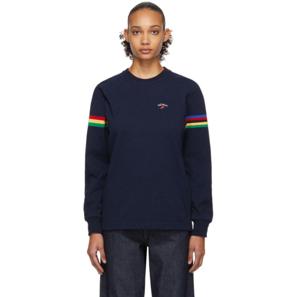 ノア Noah NYC レディース 長袖Tシャツ トップス【Navy Stripe Winged Foot Rugby Long Sleeve T-Shirt】