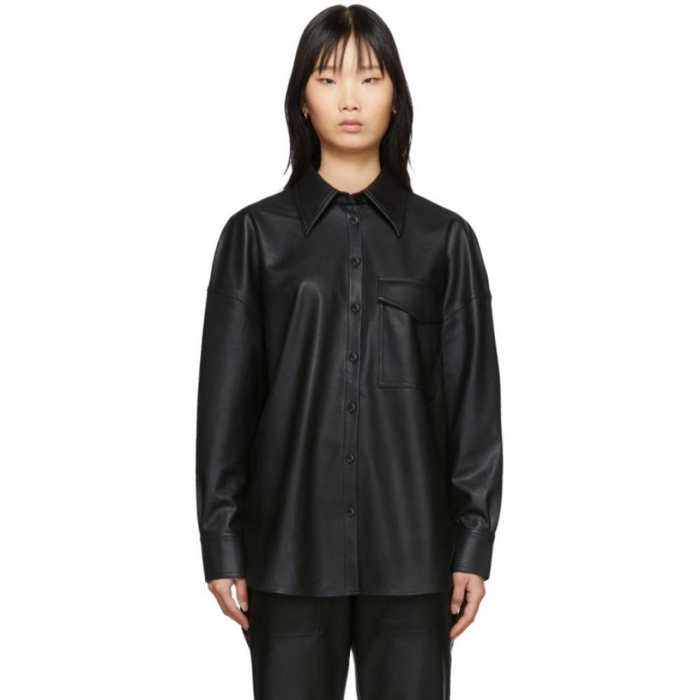 ティビ Tibi レディース ブラウス・シャツ トップス【Black Faux-Leather Utility Blouse】