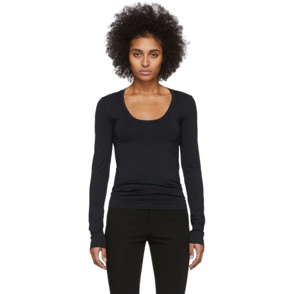 ヘルムート ラング Helmut Lang レディース 長袖Tシャツ トップス【Black Scoop Neck Long Sleeve T-Shirt】
