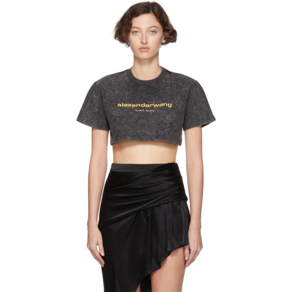 アレキサンダー ワン Alexander Wang レディース ベアトップ・チューブトップ・クロップド トップス【Black Acid Washed Cropped T-Shirt】