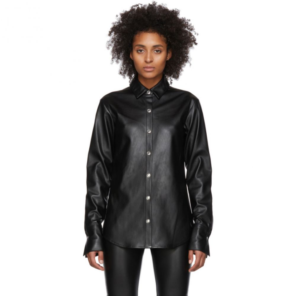 アレキサンダー ワン alexanderwang.t レディース ブラウス・シャツ トップス【Black Faux-Leather Snap Shirt】