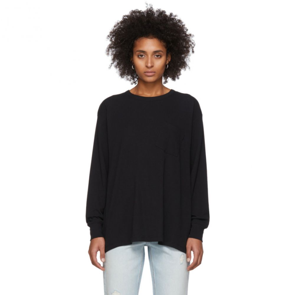 アレキサンダー ワン alexanderwang.t レディース 長袖Tシャツ ポケット トップス【Black Tilted Pocket Long Sleeve T-Shirt】