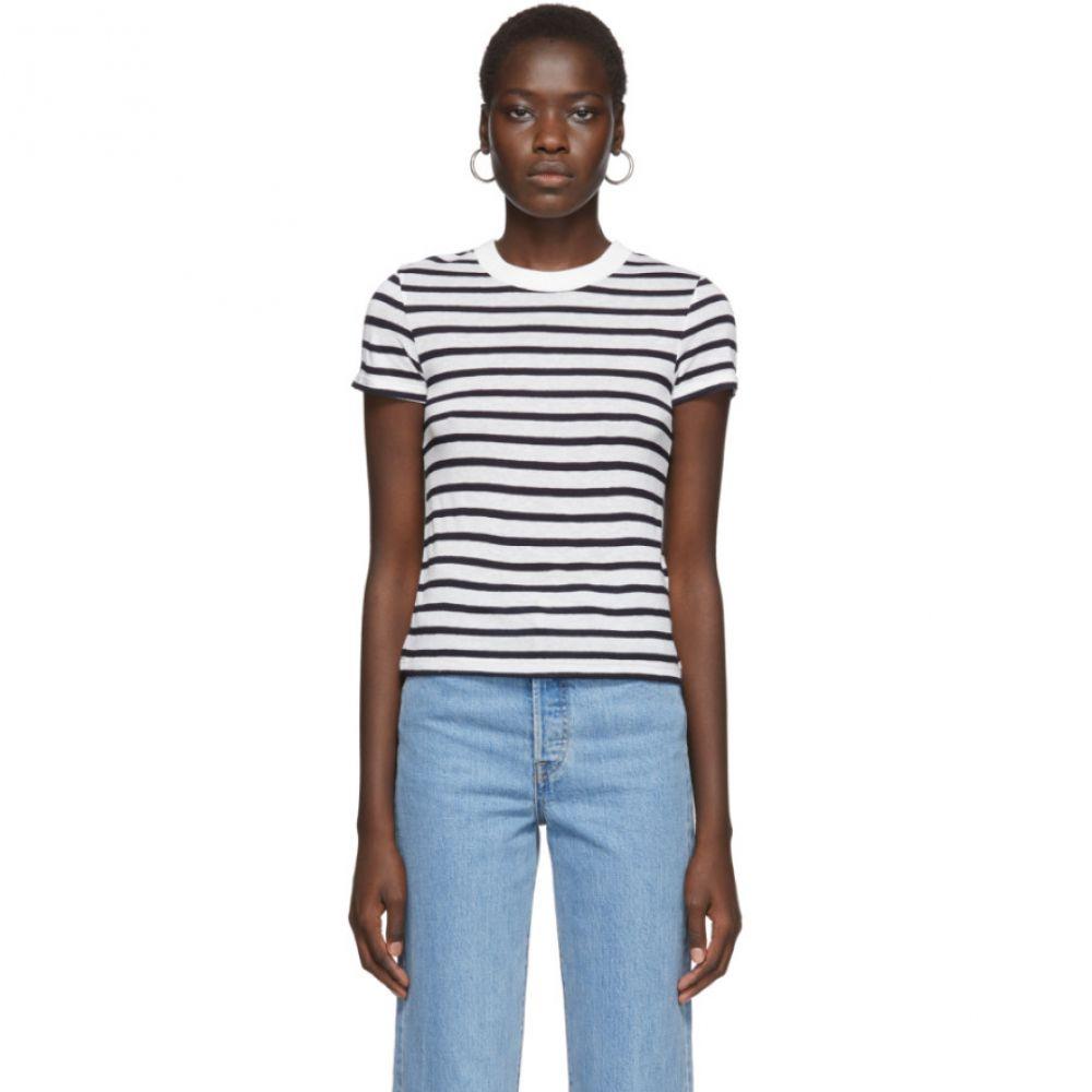 アレキサンダー ワン alexanderwang.t レディース Tシャツ トップス【White & Navy Striped Slub T-Shirt】