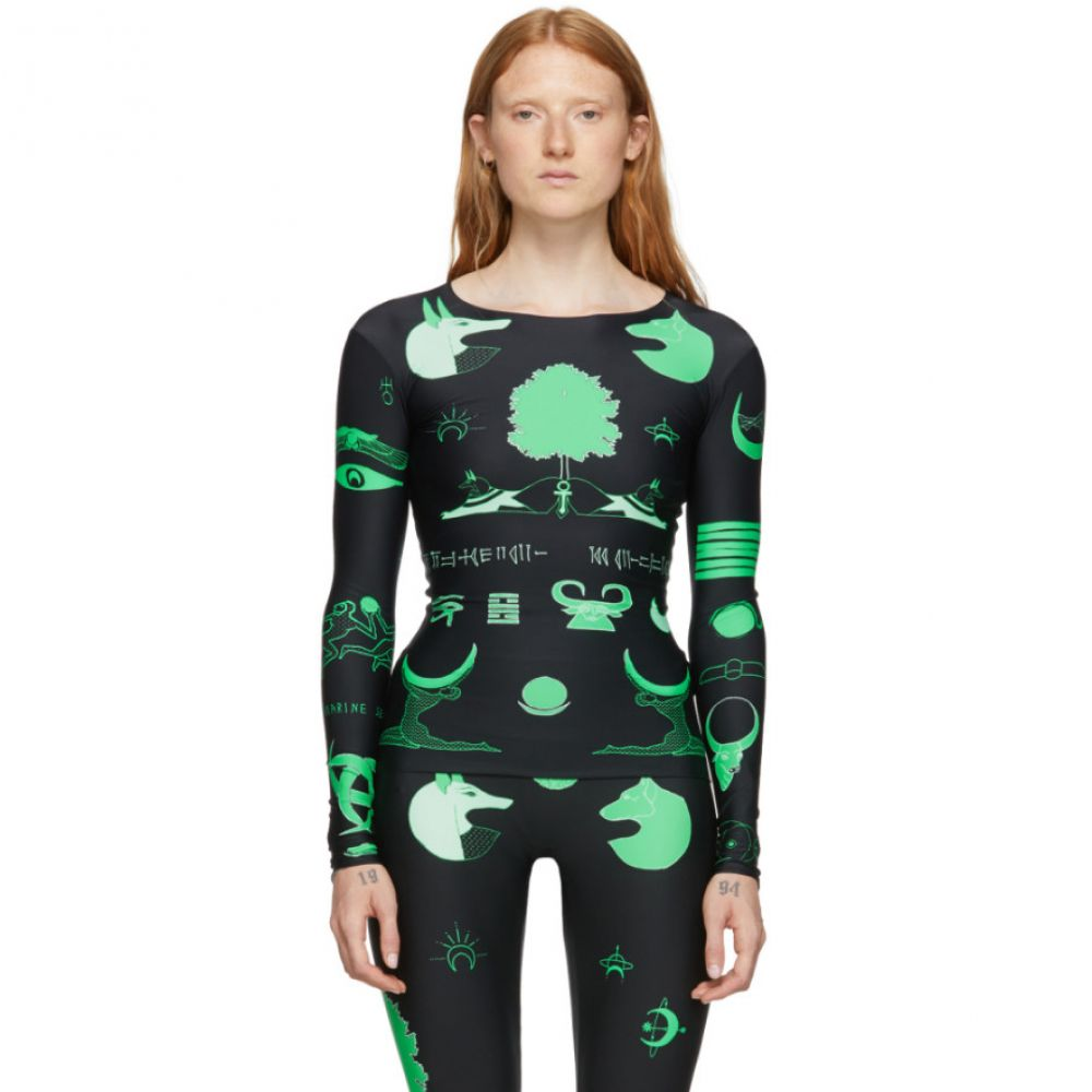 マリーン セル Marine Serre レディース 長袖Tシャツ トップス【Black & Green Jersey Long Sleeve T-Shirt】
