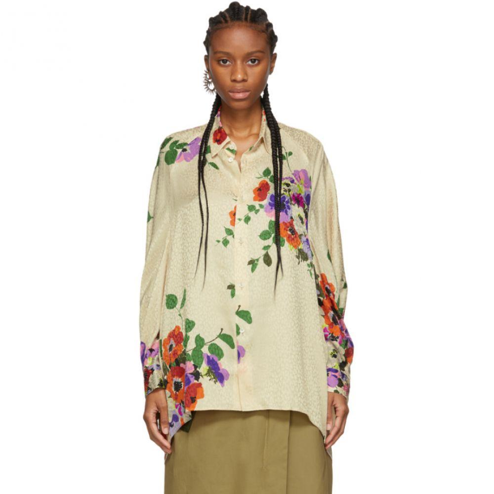 ジュンヤ ワタナベ Junya Watanabe レディース ブラウス・シャツ トップス【Off-White Silk Jacquard Floral Shirt】