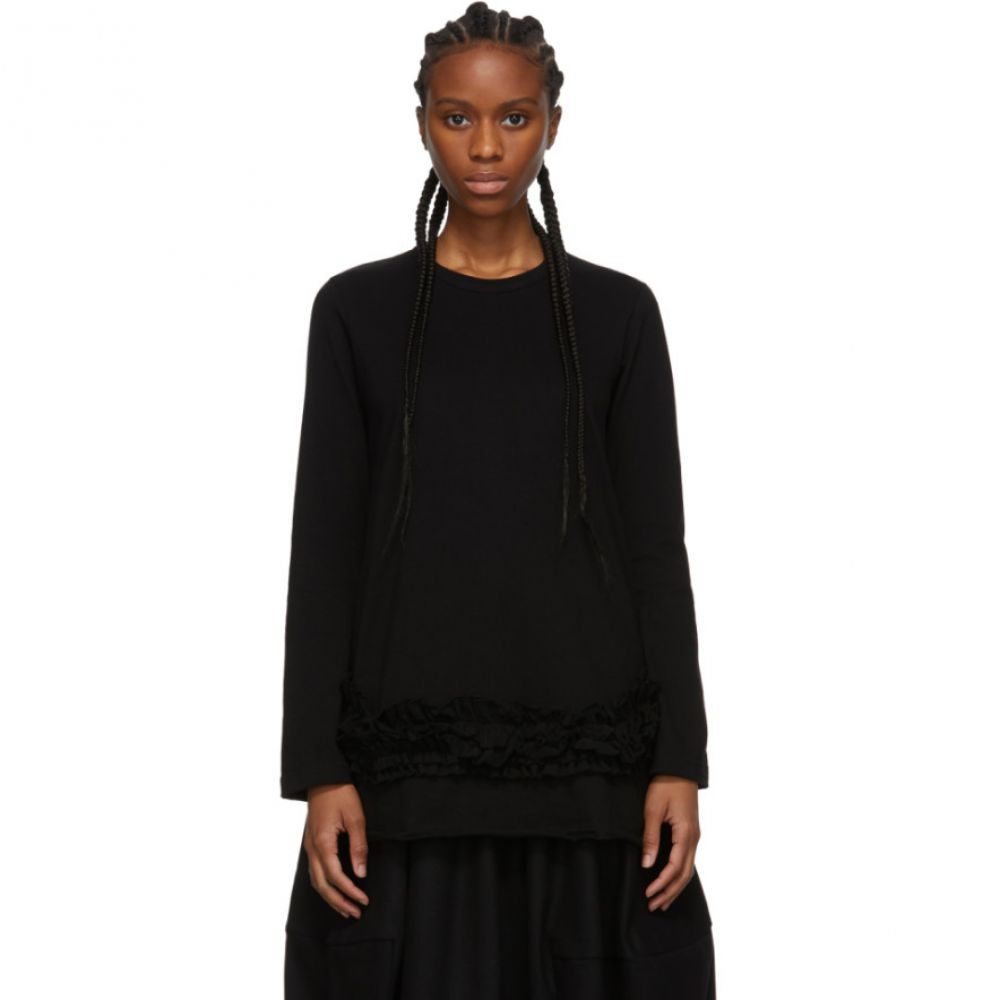 コム デ ギャルソン Comme des Garcons Comme des Garcons レディース 長袖Tシャツ トップス【Black Ruffle Long Sleeve T-Shirt】