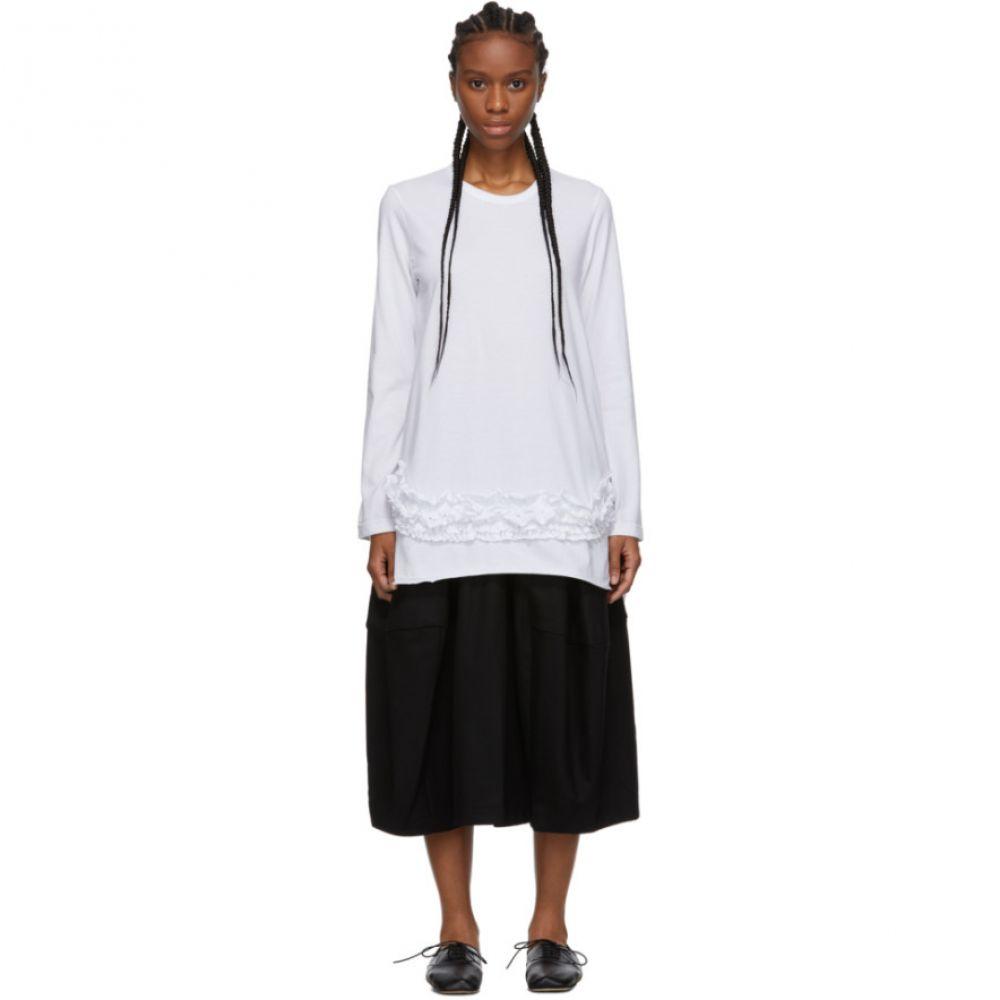 コム デ ギャルソン Comme des Garcons Comme des Garcons レディース 長袖Tシャツ トップス【White Ruffle Long Sleeve T-Shirt】