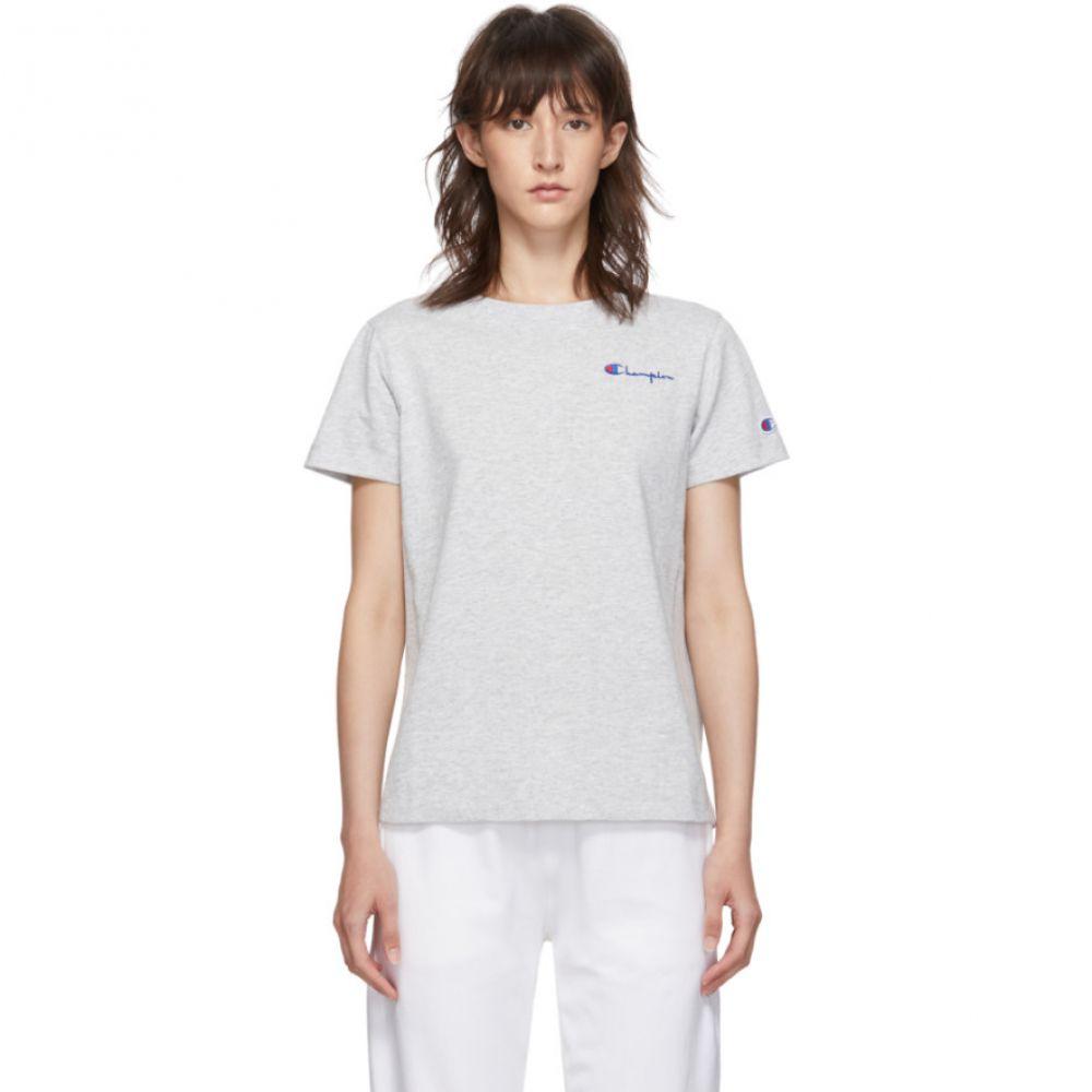 チャンピオン Champion Reverse Weave レディース Tシャツ トップス【Grey Small Script Logo T-Shirt】
