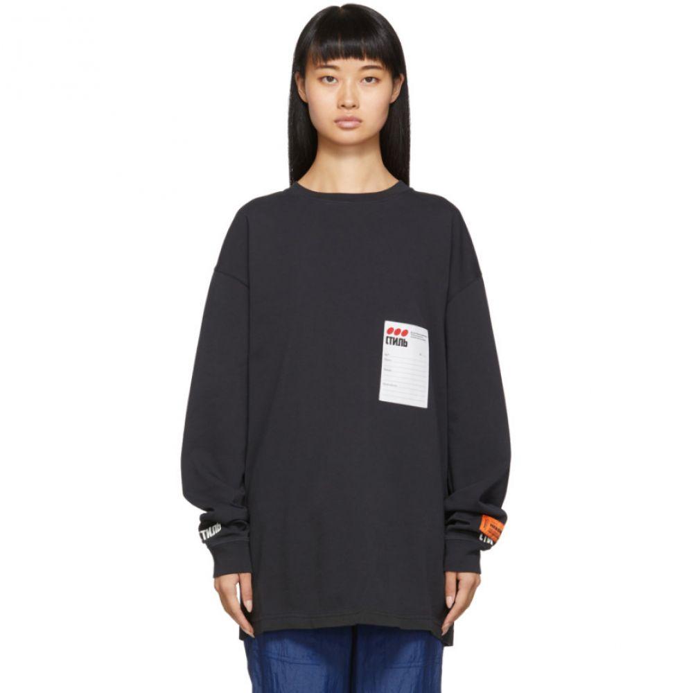 ヘロン プレストン Heron Preston レディース 長袖Tシャツ トップス【Black Sticker Label Long Sleeve T-Shirt】