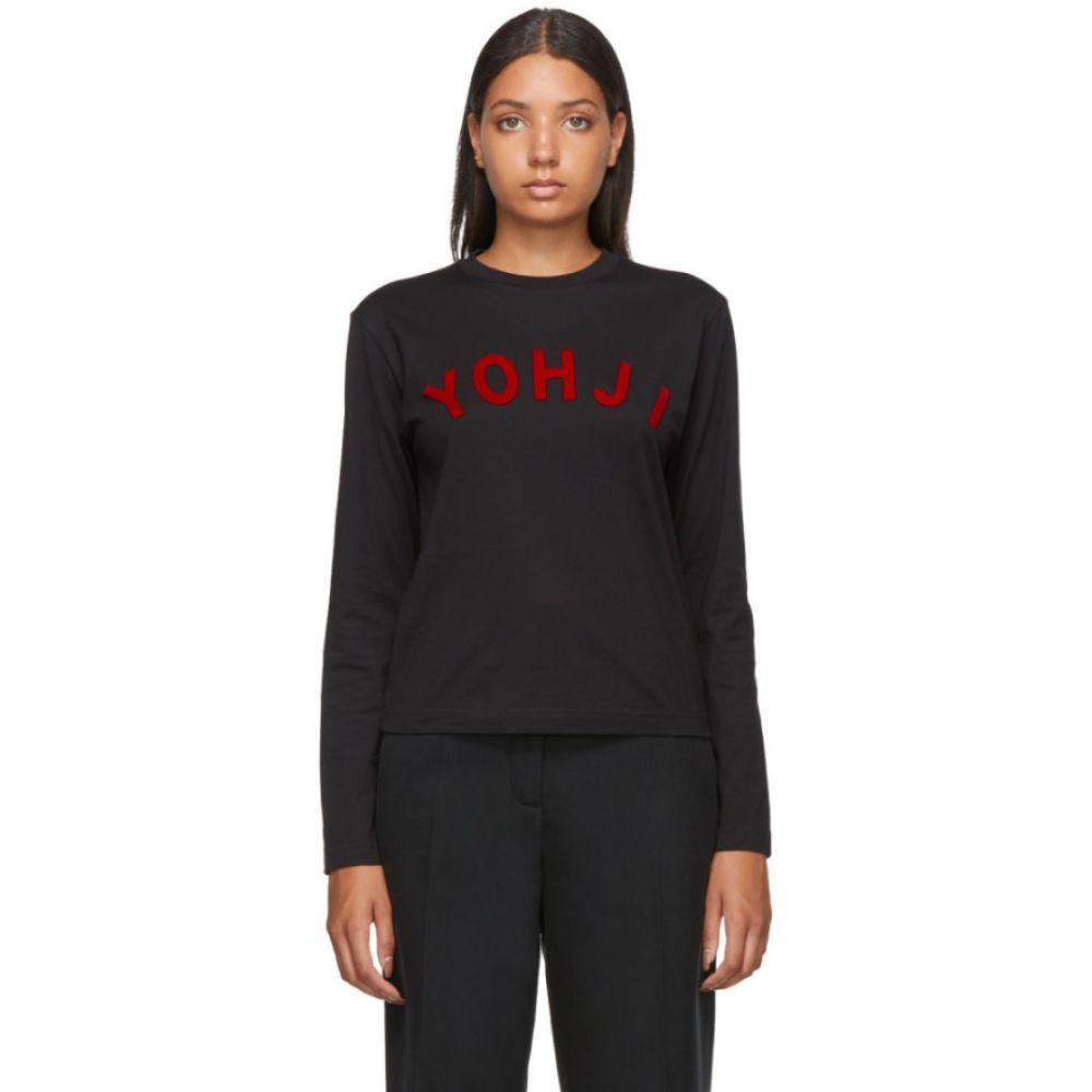 ワイスリー Y-3 レディース 長袖Tシャツ トップス【Black & Red 'Yohji' Letters Long Sleeve T-Shirt】