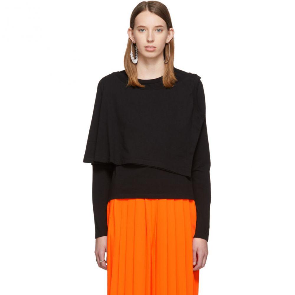 メゾン マルジェラ MM6 Maison Margiela レディース 長袖Tシャツ トップス【Black Double Layer Long Sleeve T-Shirt】