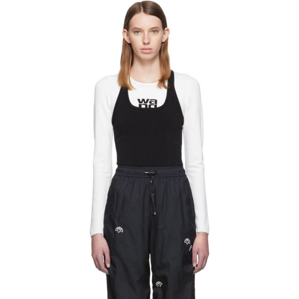 アレキサンダー ワン alexanderwang.t レディース 長袖Tシャツ トップス【White & Black Sport Layering Logo Long Sleeve T-Shirt】