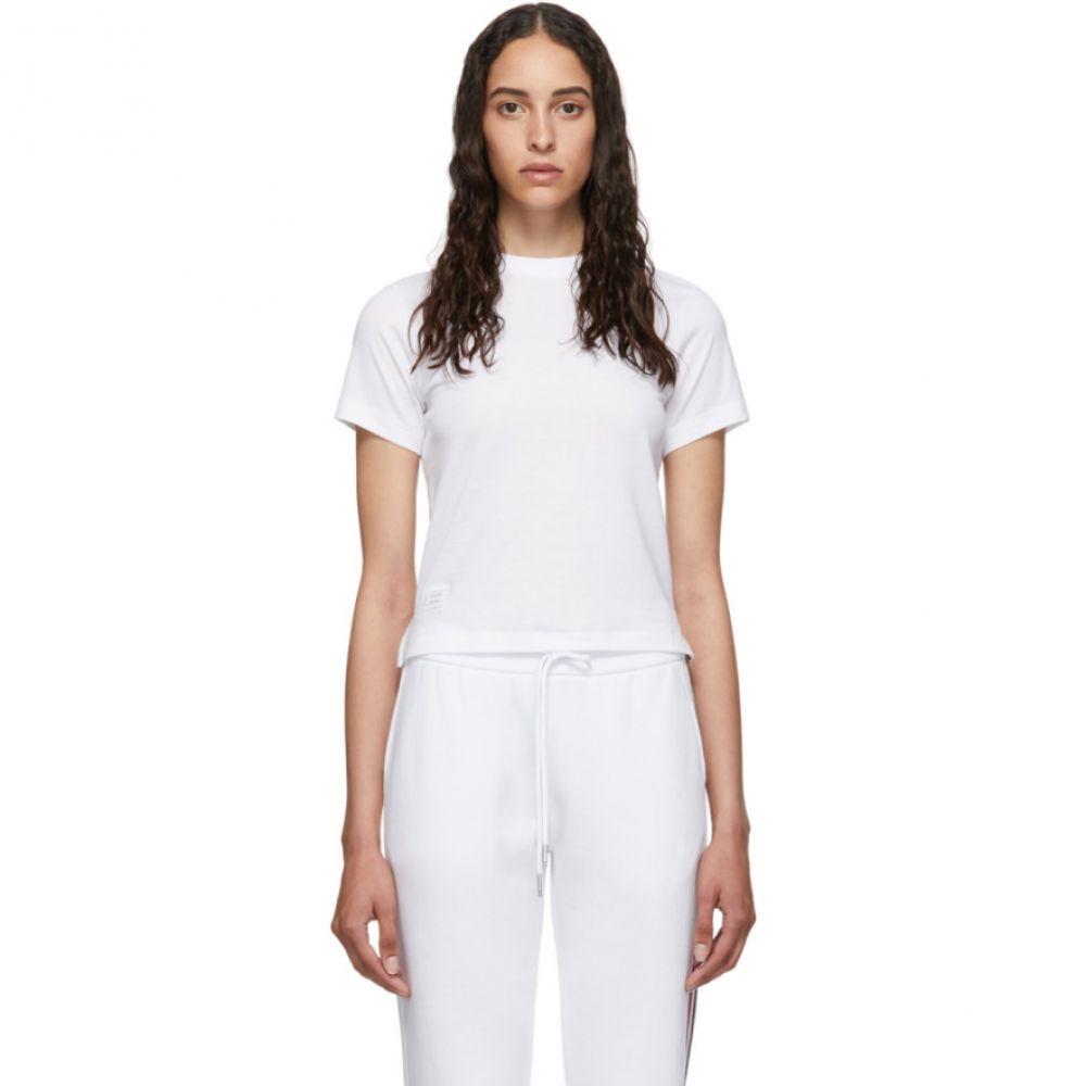 トム ブラウン Thom Browne レディース Tシャツ トップス【White Relaxed Fit Side Slit T-Shirt】