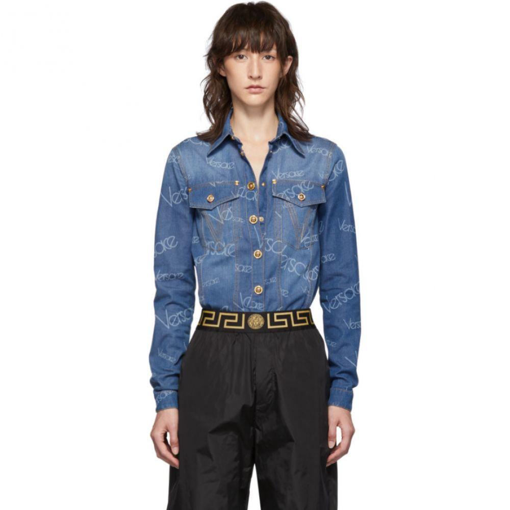 ヴェルサーチ Versace レディース ブラウス・シャツ デニム トップス【Blue Denim Logo Stamped Shirt】