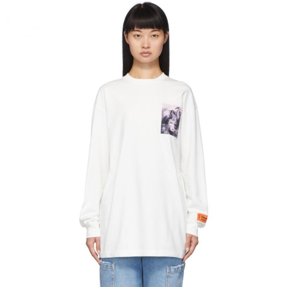 ヘロン プレストン Heron Preston レディース 長袖Tシャツ トップス【White Heron Patch Long Sleeve T-Shirt】